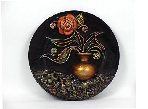 Still Life naturmort Hand Painted Leather Wall Art, Relief Art, Wooden Plate, Leather Flower, Rose, Leaf, Wall Hanging, Wall Decor, 3D Picture