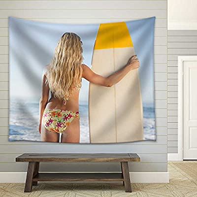 Gorgeous Blonde Surfer in Bikini Holding Her Board on a Sunny Day Fabric Wall, With a Professional Touch, Fascinating Work of Art