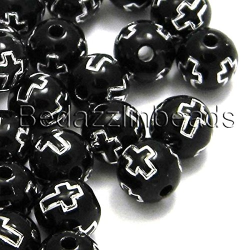 100 Black 8mm Round Plastic Acrylic Beads with Silver Cross Accent
