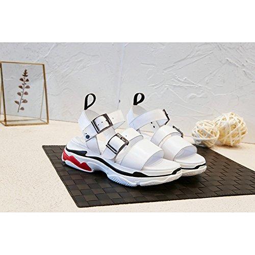 Casual Fitness Slipsole Piattaforma L0925 Tacco Interior Gomma KJJDE Donna All'aperto White WSXY Donna Serie Sandali Zeppa Semplice wqzFA0U