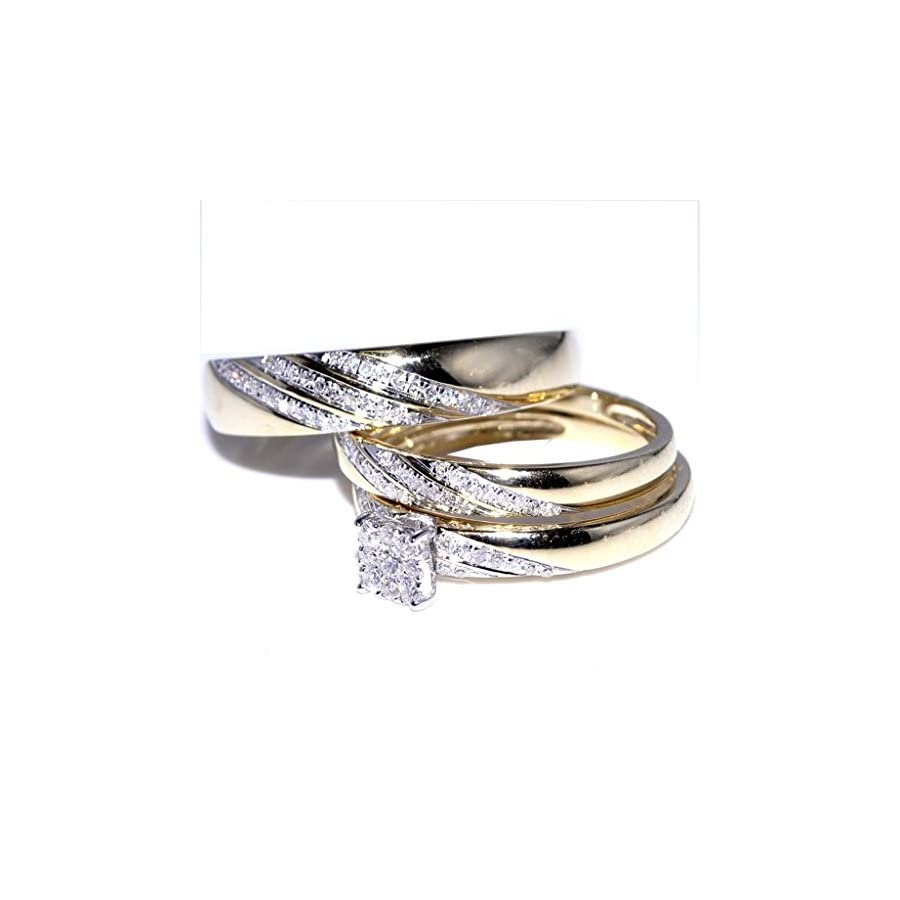 His and Her Trio Wedding Rings Set 1/3cttw 10K Yellow Gold Mens ring 5mm ladies 7mm(0.33cttw)
