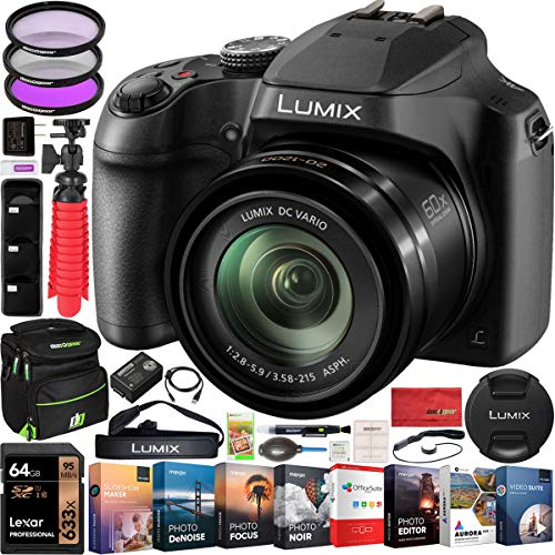 Panasonic Lumix FZ80 4K Digital Camera with 20-1200mm Lens 60x Optical Zoom Power O.I.S. Stabilization DC-FZ80 Bundle with Deco Gear Camera Bag Case + Filter Kit + Photo Video Software & Accessories