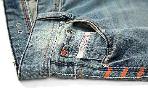 Vita Di Uomo Chiaro Vintage Strappati Casual Da Moda Blu A Skinny Media Colore Jeans Eleganti Pantaloni wtXFqAn