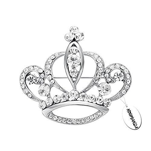NOUMANDA Women Shiny Rhinestone Crown Brooch Pin (Silver)