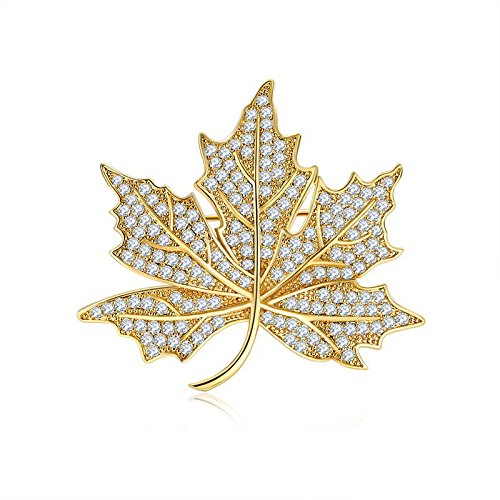 Pin Leaf Tone - Jewelry Micro Pave Canadian Maple Leaf Brooches and Pins Silver Tone (Gold)