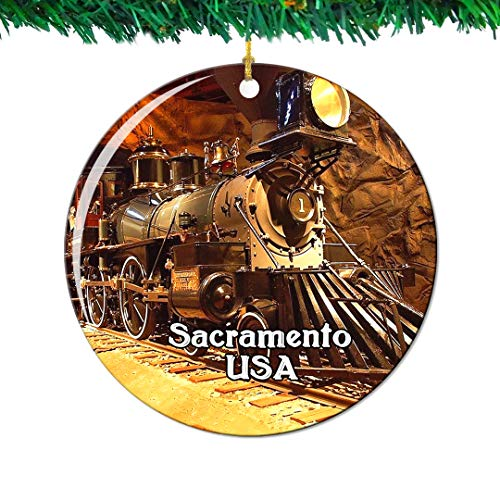 - Weekino California State Railroad Museum Sacramento America USA Christmas Ornament City Travel Souvenir Collection Double Sided Porcelain 2.85 Inch Hanging Tree Decoration