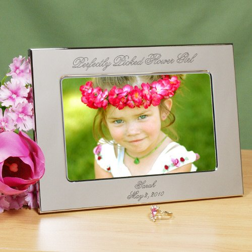 Perfectly Picked Flower Girl Personalized Silver Picture Frame, Engraved, Holds a 4