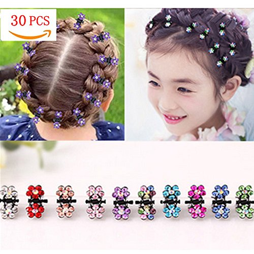 (30PCS Hair Claw Clips for Little Girls,Crystal Rhinestone Mix Colored Mini Flower Hair Claw Jaw Clip for Women Girl Kids toddlers (30 pcs))