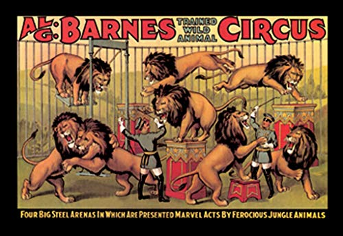 "Buyenlarge Al. G. Barnes Trained Wild Animal Circus Four Big Steel Arenas Wall Decal, 36"" H x 24"" W"