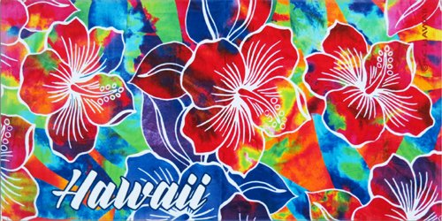 KC Hawaii Tie Dye Hibiscus Beach Towel 30 X 60 inch