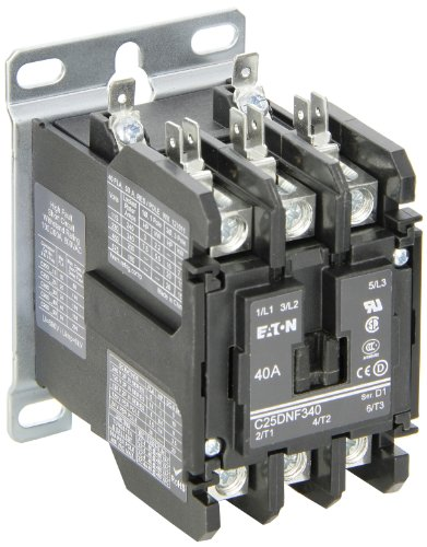 Coil 480vac Contactor Single Pole (Eaton C25DNF340B. Definite Purpose Contactor, 50mm, 3 Poles, Box Lugs, Quick Connect Side By Side Terminals, 40A Current Rating, 3 Max HP Single Phase at 115V, 10 Max HP Three Phase at 230V, 20 Max HP Three Phase at 480V, 208-240VAC Coil Voltage)