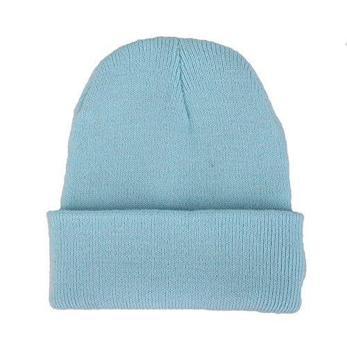rm Winter Hat Knit Plain Skull Beanie Toboggan Knit Hat/Cap (Light Blue) (Blue Knit Beanie Cap Hat)