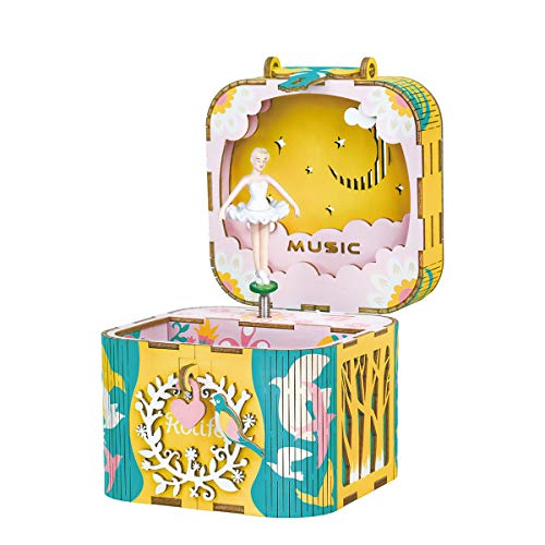 Rolife Dream Hand Crank Music Box with Inner Machine-3D Wooden Puzzle DIY Assemble Toys-Creative Gift for Christmas/Birthday/Valentine's Day for Kids Children Girl Friends (Ballet Princess) ()