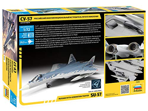 ZVEZDA 7319 11.5 122 Parts Russian Fifth-Generation Fighter SU-57 Plastic Model Kit Scale 1//72 Lenght 29.5 cm