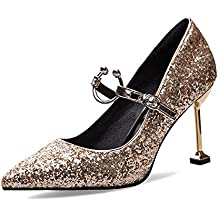 MIKA HOM Women's Pointy Toe High Heels Slip on Stilettos Large Size Wedding Party Evening Pumps Shoes