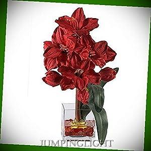 JumpingLight 1110-RD Amaryllis Liquid Illusion Silk Flower Arrangement Artificial Flowers Wedding Party Centerpieces Arrangements Bouquets Supplies 48