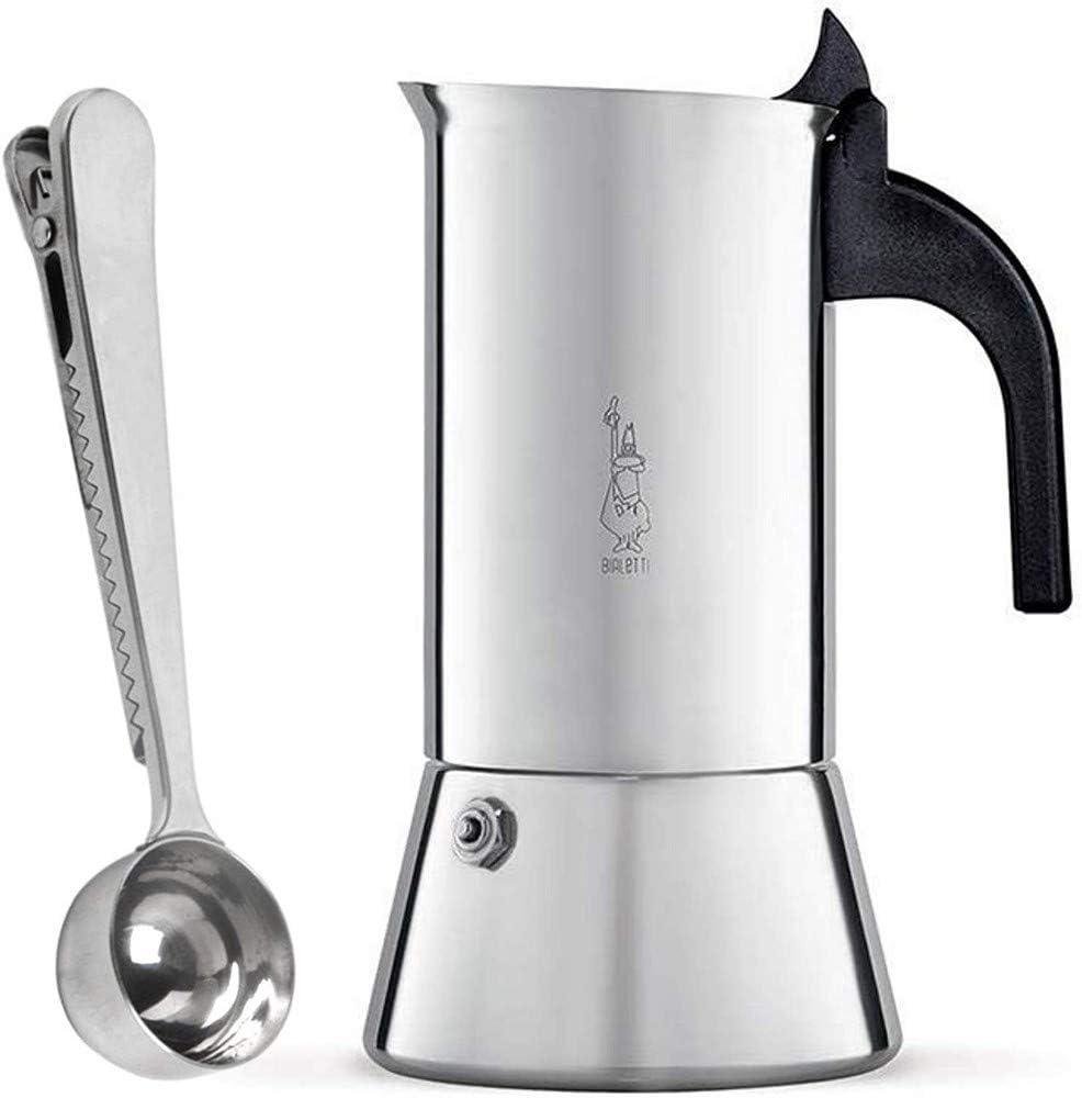 Bialetti Venus Cafetera Italiana Express de Inducción de Acero Inoxidable para 4 Tazas, Adecuada para Todos los Tipos de Cocina con SmartProduct Cuchara para Café: Amazon.es: Hogar