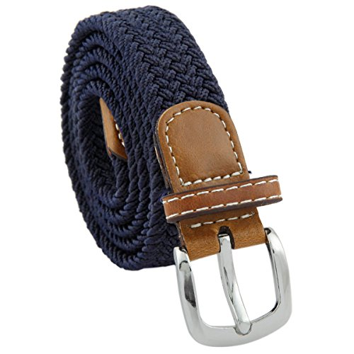 Samtree Braided Belts for Women,PU Leather Skinny Elastic Web Belt(Navy Blue)
