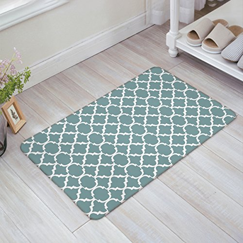 (Indoor Doormat Stylish Welcome Mat Medium Turquoise Quatrefoil Geometric Entrance Shoe Scrap Washable Apartment Office Floor Mats Front Doormats Non-Slip Bedroom Carpet Home Kitchen Rug 18