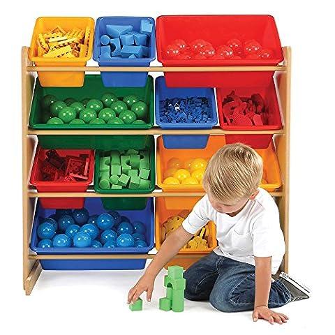 Tot Tutors Toy Storage Organizer with 12 Plastic Bins in Primary