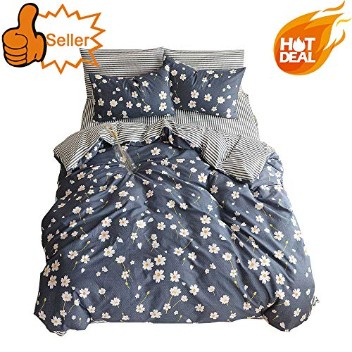 OTOB Cotton Girls Floral Teen Bedding Sets Full Size with 2 Pillow Shams Flower Striped Queen Duvet Cover Set for Kids Adults Women Student White Navy Blue Reversible, - Daisies Bedding