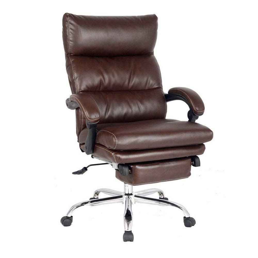 Reclining Office Chair High Back Executive Chair with Any Angle Recline Lock System Napping Chair with Footrest Bonded Leather(Brown) by SMUGDESK