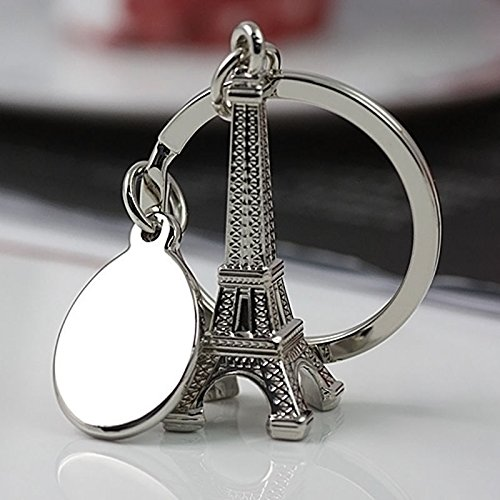 Axmerdal Metal Eiffel Tower Statue Figurine Replica Jewelry Stand Holder French Souvenir Gift From Paris, France,Eiffel Tower Style Keychain Key Ring Silver (4cm Key ()