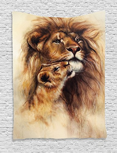 Loving Lion and Her baby Cub Snuggle Wildlife Nature wall decor