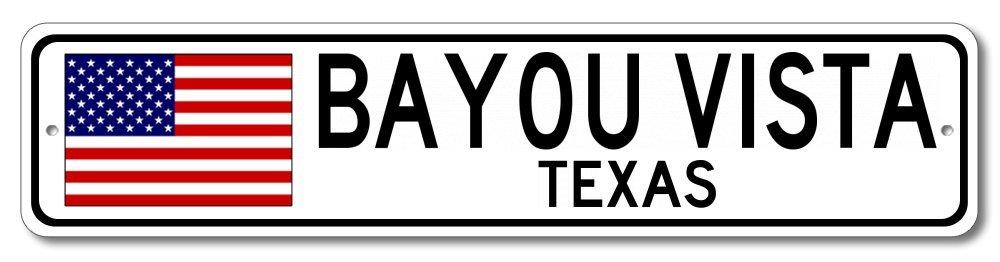 The Lizton Sign Shop Bayou Vista, Texas Aluminum America Flag Sign, USA Custom Flag Sign - 6''x24'' by The Lizton Sign Shop (Image #1)
