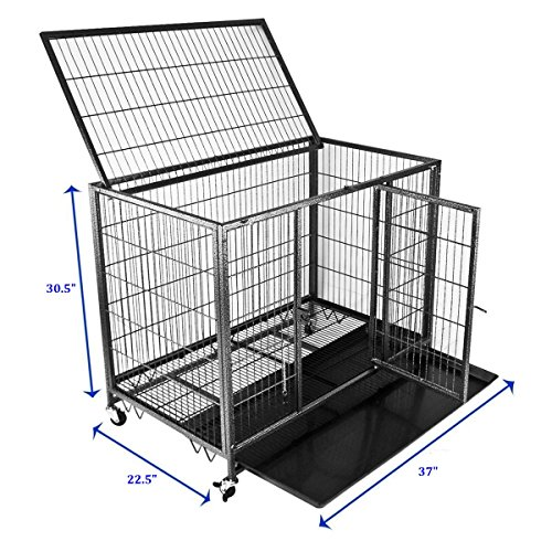 new 37quot homey pet open top heavy duty dog pet cage kennel With open top dog kennel