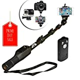 "JTD Professional Telescopic Aluminum Alloy Pole Extendable to 49"" Self Portrait Selfie Stick Pole Monopod with Phone Clamp Bluetooth Remote Controller Universal Mount for GoPro Phone Camara"