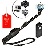 """JTD Professional Telescopic Aluminum Alloy Pole Extendable to 49"""" Self Portrait Selfie Stick Pole Monopod with Phone Clamp Bluetooth Remote Controller Universal Mount for GoPro Phone Camara"""
