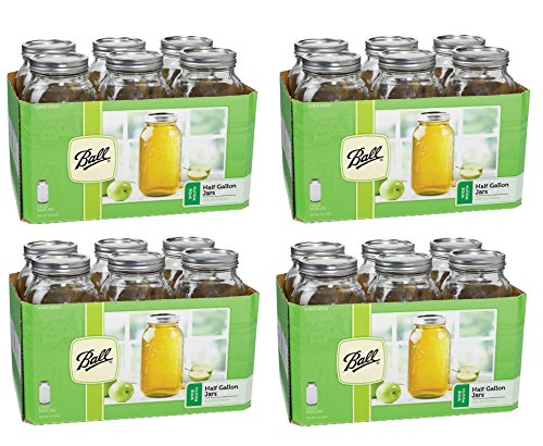 Ball 6 Pieces 64 Oz Wide Mouth 1/2 Gal. Glass Jars Made in USA (4 Pack) Includes lids with bands by Ball