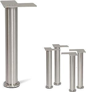 "Stainless Steel Straight Metal Sofa Legs, Furniture Legs, Round Tube - Set of 4 New (12"")"