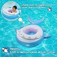Veitorld Flotador Bebé con Asiento, Anillo de Natación Bebé,Tiburón Tabla Hinchable con Inflable Toldo ,Barco Inflable Flotador para 6-36 Meses