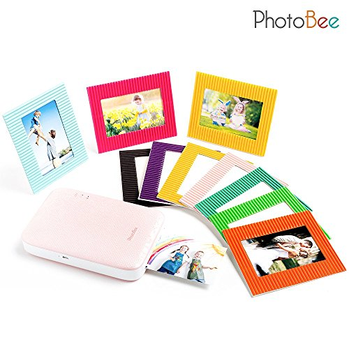 Photobee Portable Photo Printer - Pink (12 sheets of sticky-backed photo paper, 10 paper frames and 1 folding album are included) by PHOTOBEE