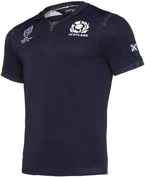 Coppa del Mondo di Rugby 2019 T-Shirt per Il Tempo Libero Manica Corta da Tifoso di Rugby Corte di Casa Scozia Scotland//Trasferta Maglia da Rugby Uomini E Donne Casual Felpa