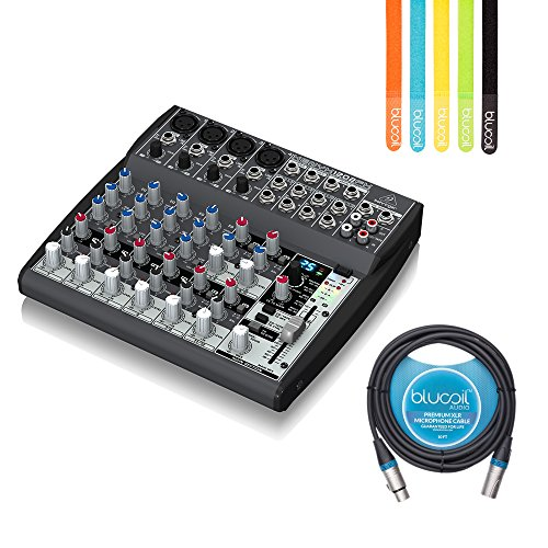 Recording 8 Console Bus (Behringer XENYX 1202FX 12-Input 2-Bus Analog Mixer -INCLUDES- Blucoil Audio 10' Balanced XLR Cable AND 5 Pack of Reusable Cable Ties)