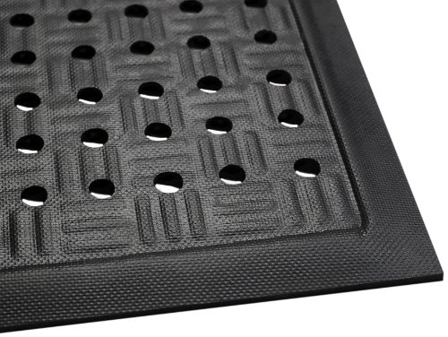 Nitrile Rubber Mats (Andersen 371 Cushion Station Nitrile Rubber Anti-Fatigue Indoor Floor Mat with Holes, 3.2' Length x 2' Width, 7/16