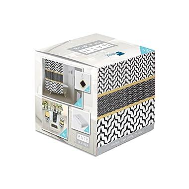 Indecor Home Bath in a Box 18-Piece Bathroom Set, Geometric, Black White