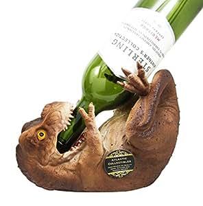 "Atlantic Collectibles Prehistoric Dinosaur T-Rex 8.5"" Long Wine Bottle Holder Caddy Figurine"