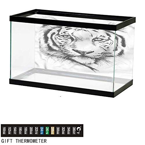 bybyhome Fish Tank Backdrop Animal,Tiger Portrait Africa Fauna,Aquarium Background,30