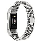 Lwsengme Metal Bands for Fitbit Charge 2 - Charge2 Tracker Replacement. Magnet Strap Lock Large Small (Lihgt Metal - 5.5