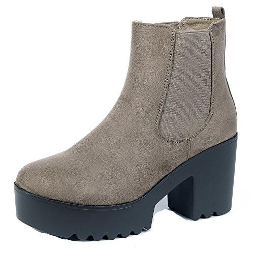 Tonda Marrone Medio Donna Chelsea Elastico Shoes Stivaletti Tacco Punta AgeeMi wqzxatfBTy