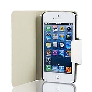 Blanco Falso cuero del tirón de la cubierta del soporte cuadros bolsa del caso para Apple iPhone 5 5G