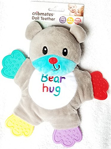 Cribmates Teether Doll Grey and Teal Blue BEAR HUG Bear with Four Multi-Color Teether Paws and Soft Crinkle Body