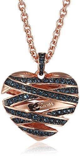 Guess Damen-Kette mit Anhänger Herz Messing Glas blau 81.0 cm - UBN21621