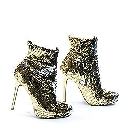 Reversible Metallic Sequins High Heel Dress Boots