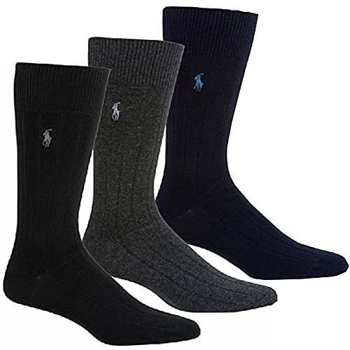 Polo Ralph Lauren Mens' Extended Size Ribbed Dress Socks 3-pack (One Size, Black/Charcoal/Navy)