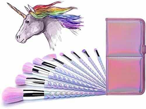 Ammiy Unicorn Makeup Brushes 10pcs With Colorful Bristles Unicorn Horn Shaped Handles Fantasy Makeup Brush Set Foundation Eyeshadow Unicorn Brush Kit With a Cute Iridescent Carrying Case
